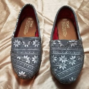 Toms Gray Loafers with Silver Snowflakes
